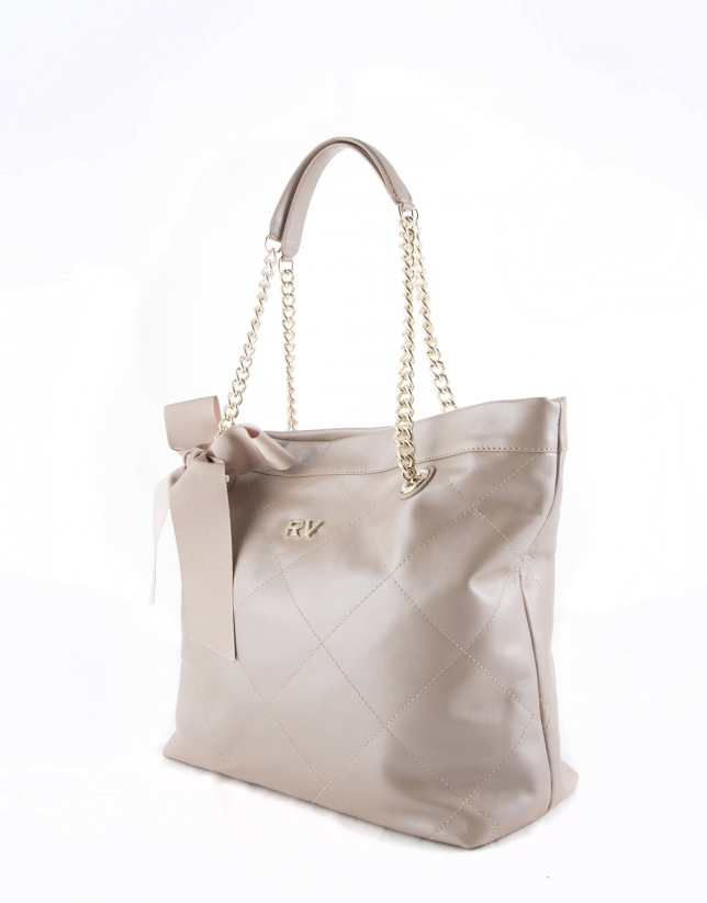 Pearl leather Ariadna shopping bag