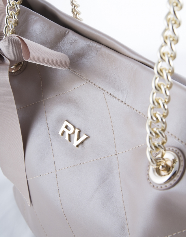 Ariadna : sac shopping en cuir vachette perlé