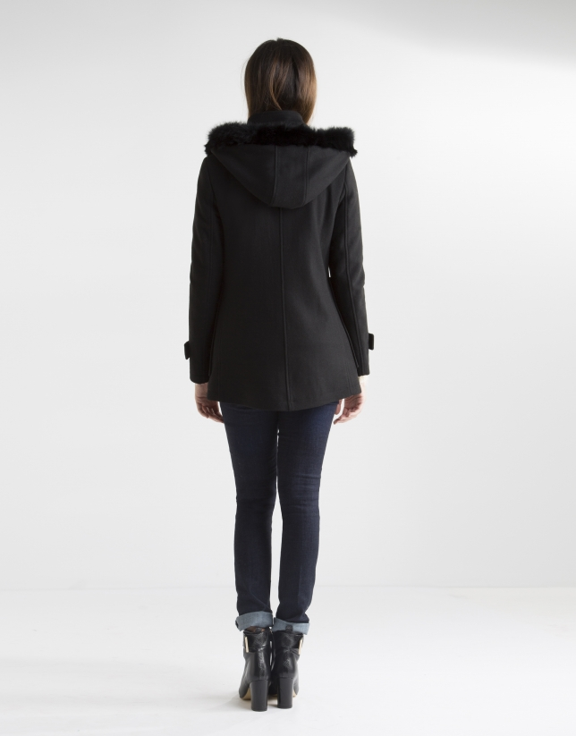 Short black coat with hood