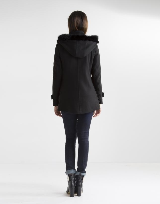 Short black coat with hood