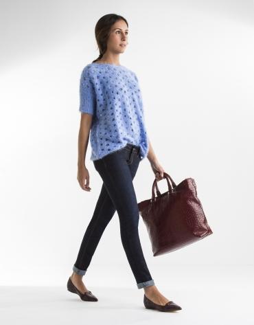 Blue openwork sweater