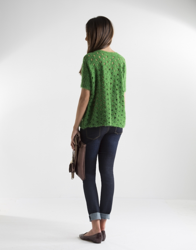 Green openwork sweater