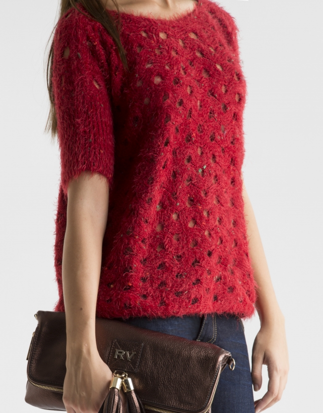 Red openwork sweater