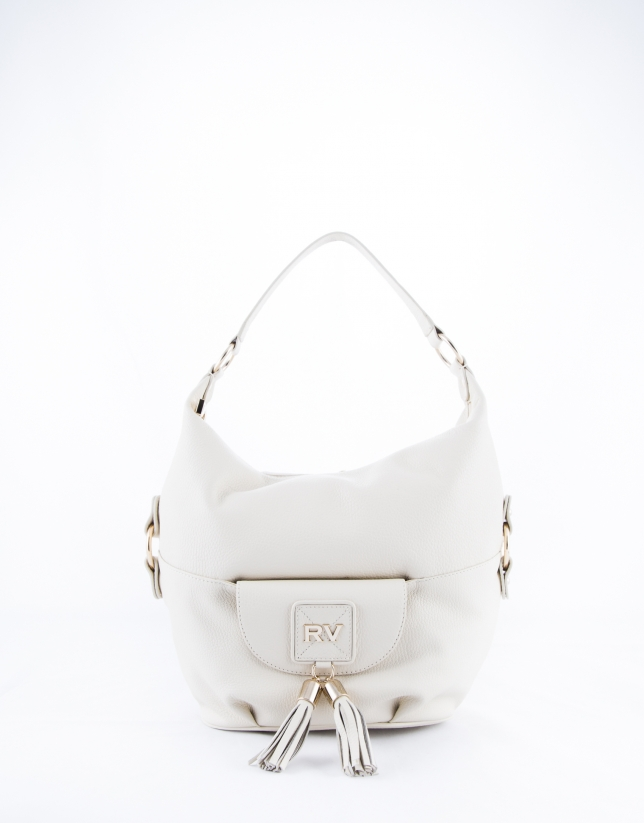Beige leather  Petra hobo bag