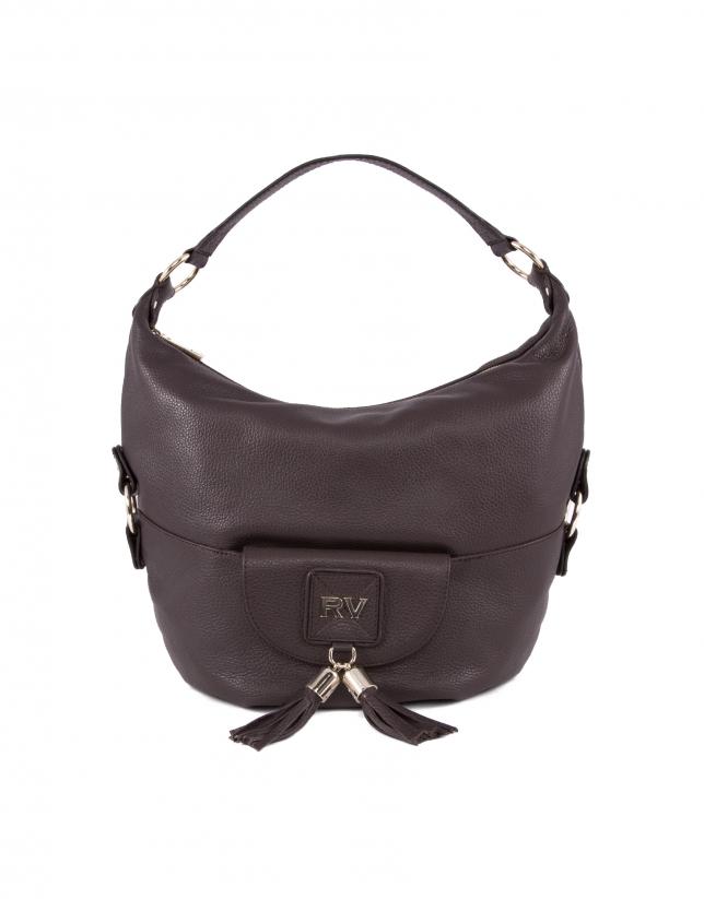 Petra dark brown leather bag