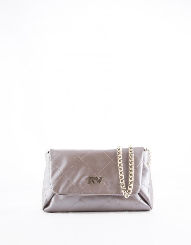 Pearl leather Sofía clutch bag