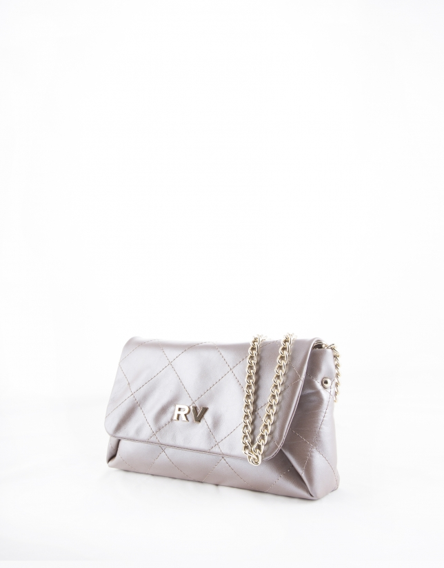 Pearl leather Sofía clutch bag