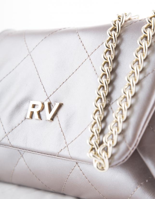 Sofía : clutch en cuir vachette perlé