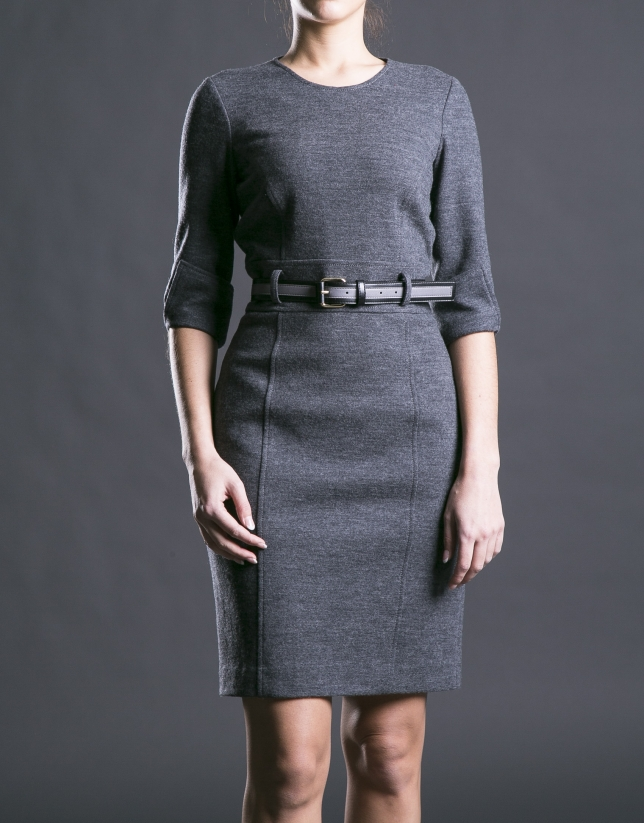 Fitted gray dress with belt.