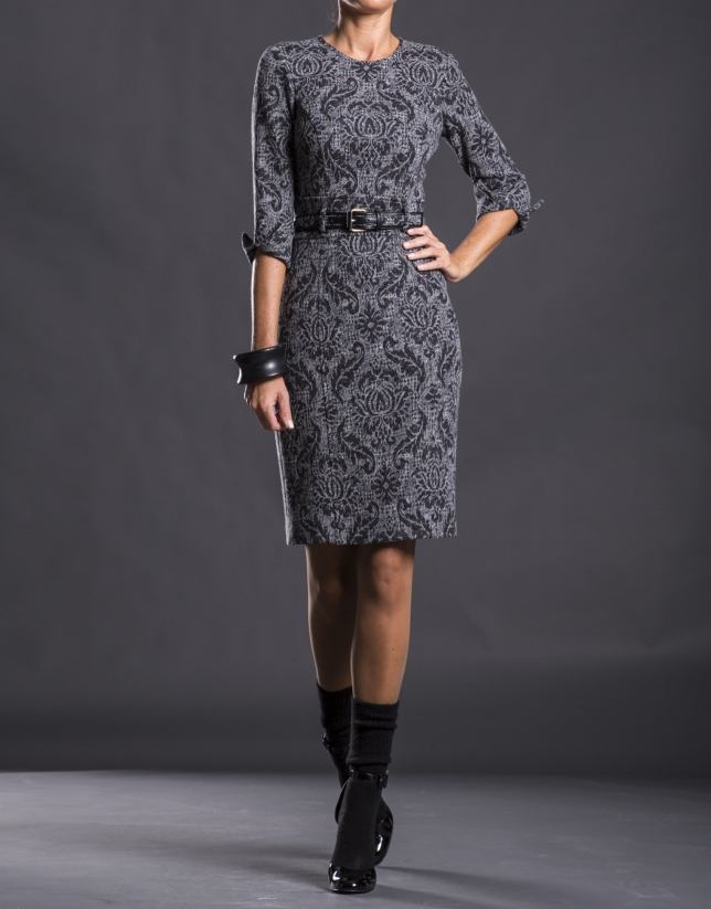Gray knit dress with belt