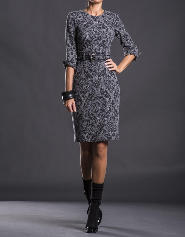Gray knit dress with belt