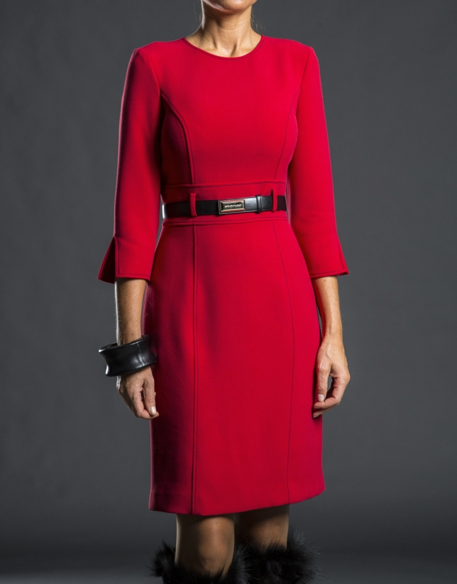Red fitted dress with belt