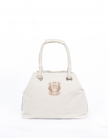 Taupe canvas Daría tote bag