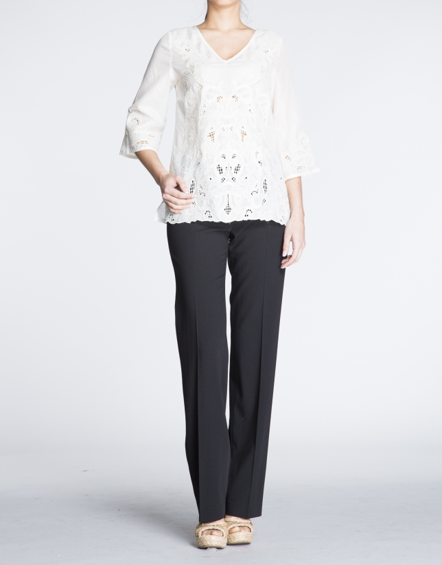 White silk and embroidered tunic