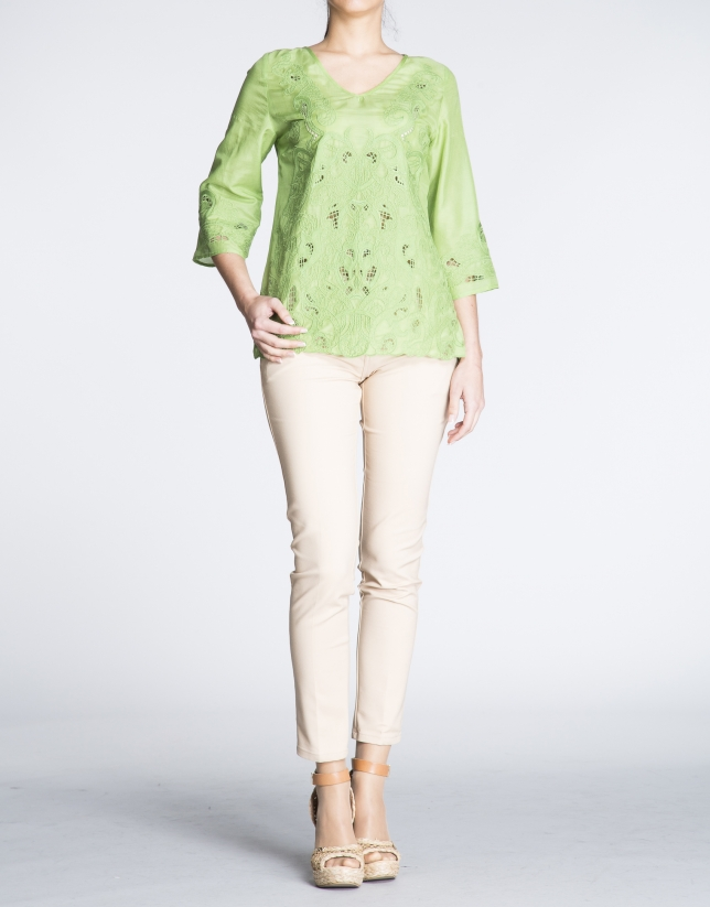 Green silk and embroidered tunic