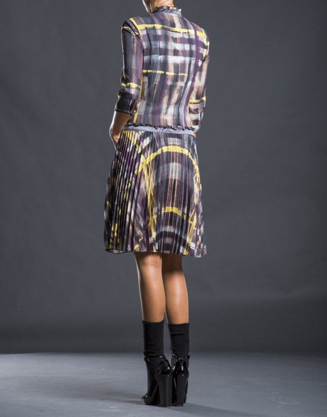Checked chiffon dress