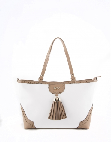 Bolso Shopping Marcela blanco y camel