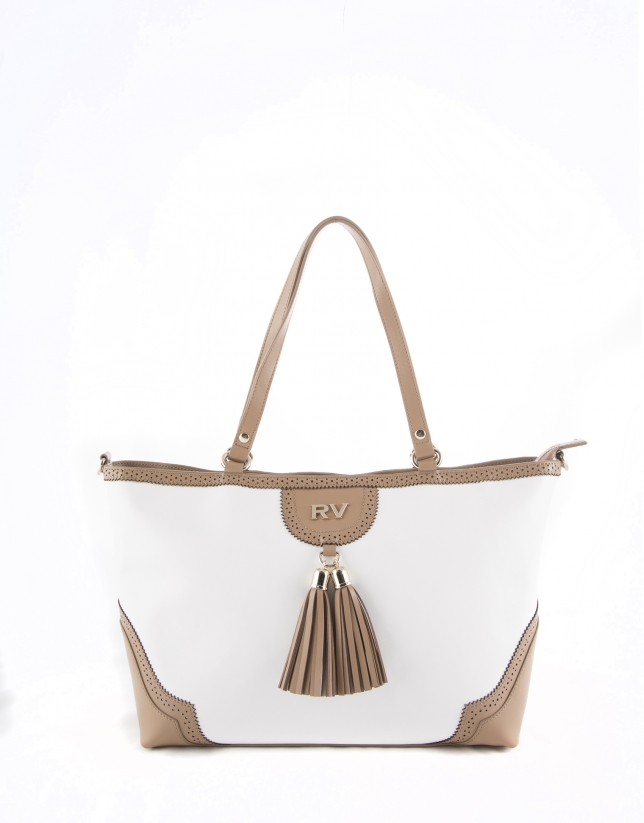 White and camel Marcela shopping bag