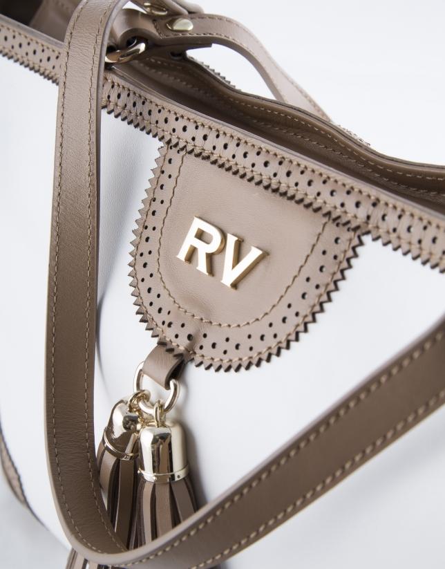 White and camel Marcela shopping bag