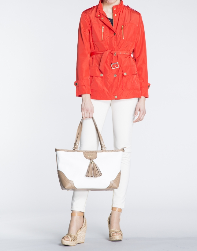 Marcela : sac shopping blanc et camel