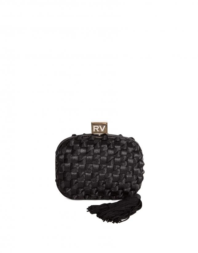Black fabric clutch bag