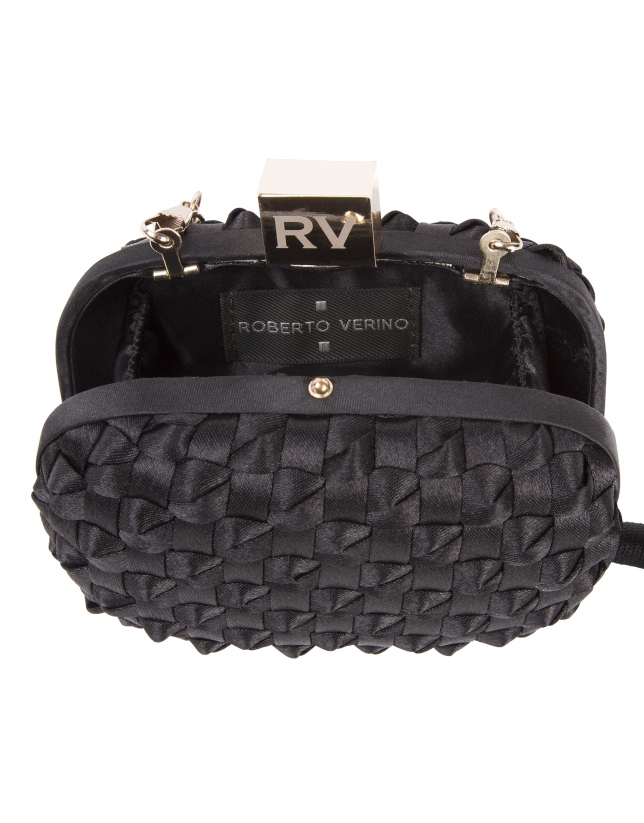 Black fabric clutch bag