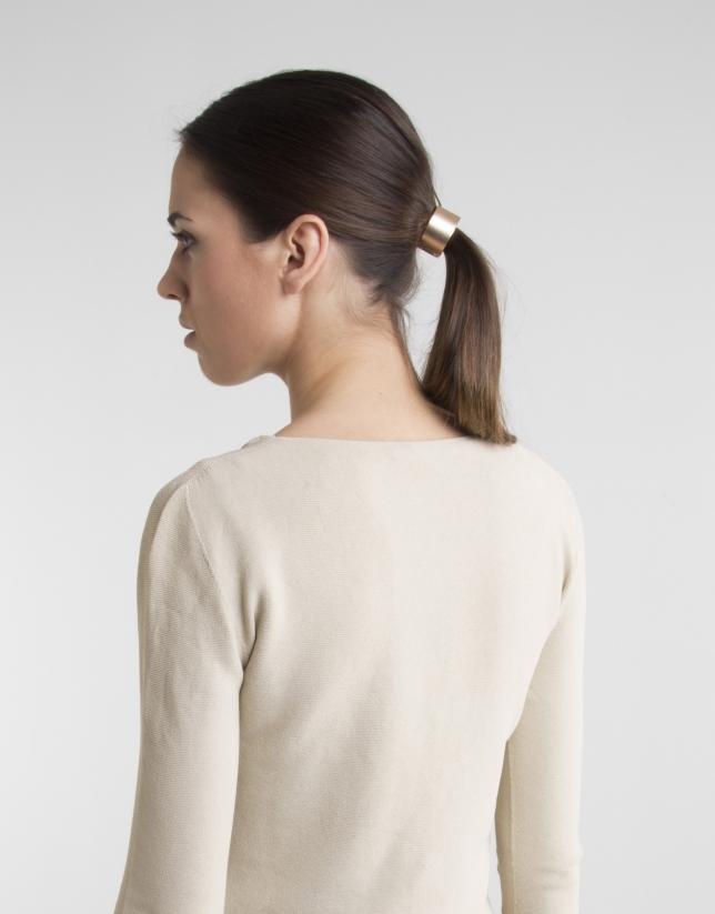 Short camel knit jacket