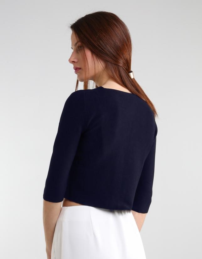 Veste courte bleue en maille