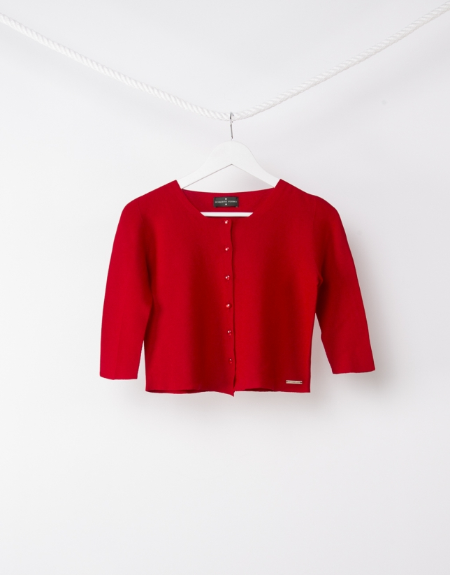 Shore red knit jacket