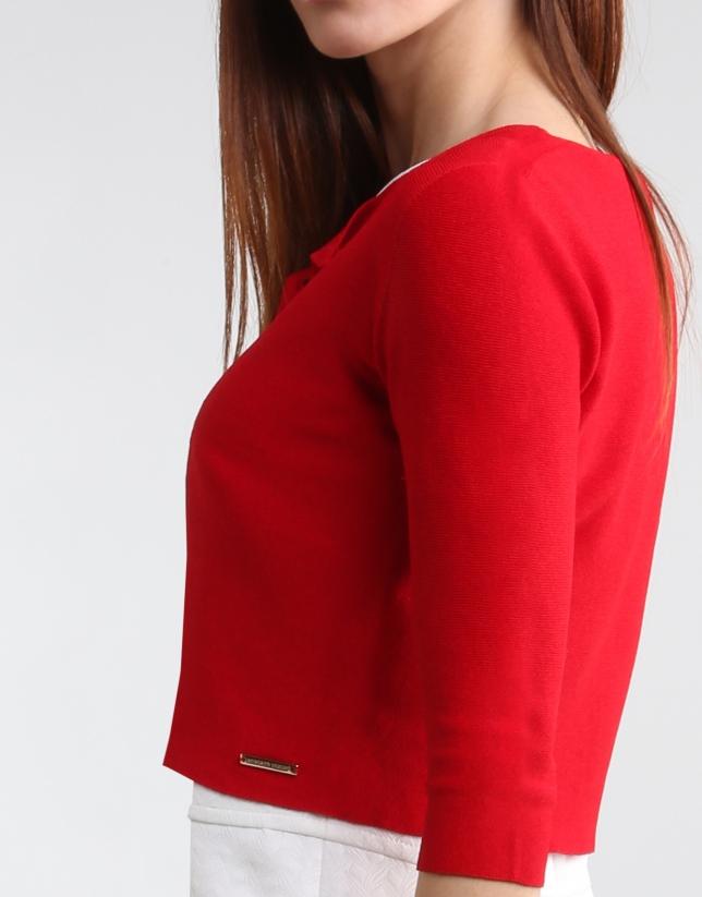 Veste courte rouge en maille