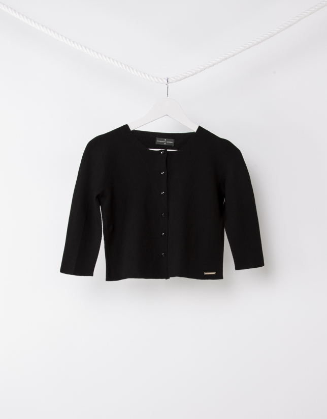 Shot black knit jacket