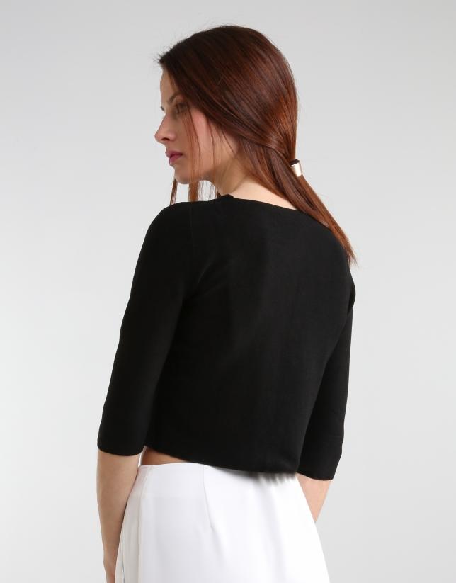 Veste courte noire en maille