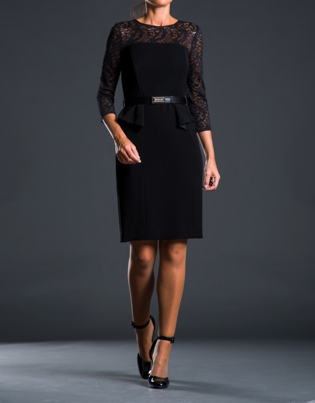 Black pep-plum lace dress