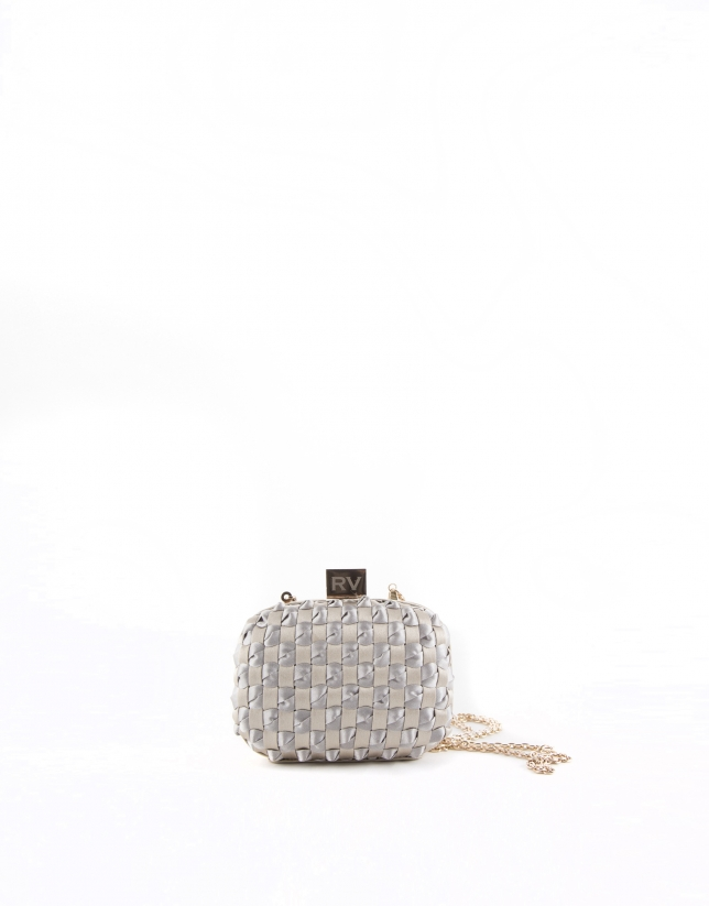 Gold and silver fabric Cova clutch bag