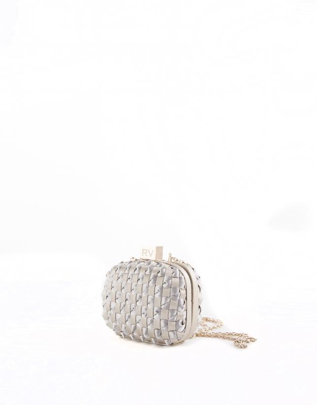 Cova : clutch damier de tissu doré et argenté