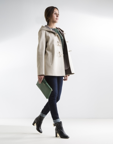 Beige three quarter length lambskin jacket