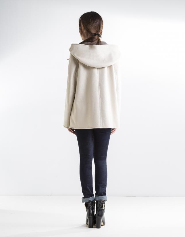 Beige three quarter length lambskin jacket
