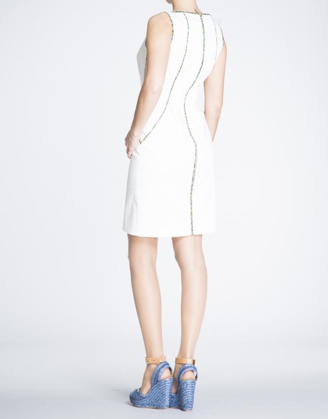 Beige cotton straight dress with trim