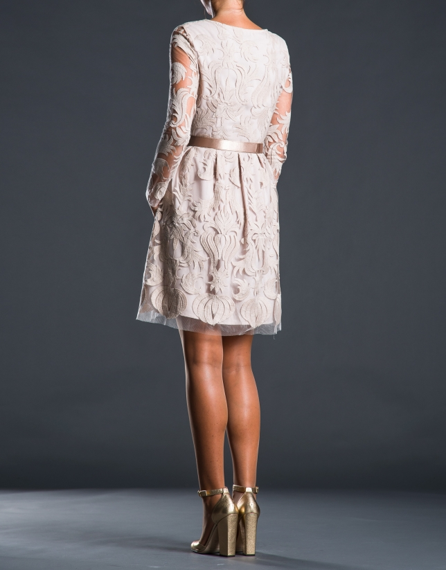 Beige embroidered tulle dress