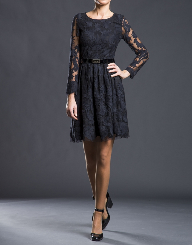 Black embroidered tulle dress