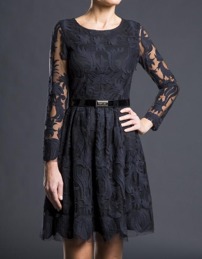 Vestido tul bordado negro