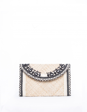 Natural raffia Claudia clutch bag
