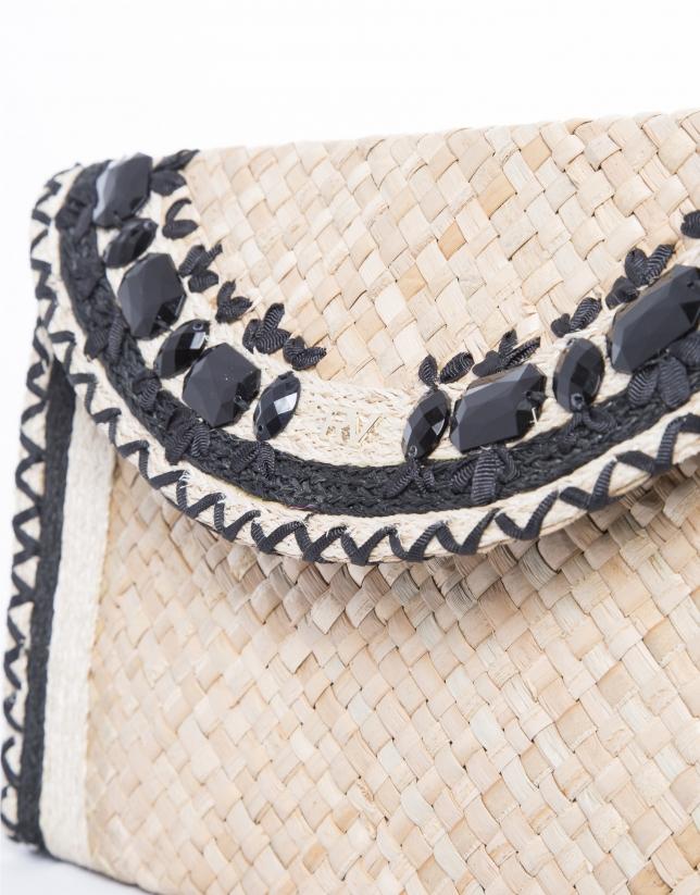 Natural raffia Claudia clutch bag