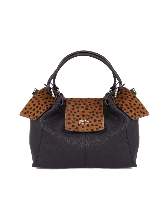 Julia Dots animal print fur bag with flap