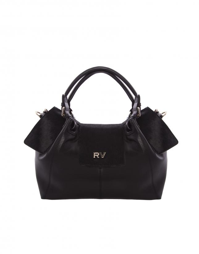 Julia  black fur bag with flap