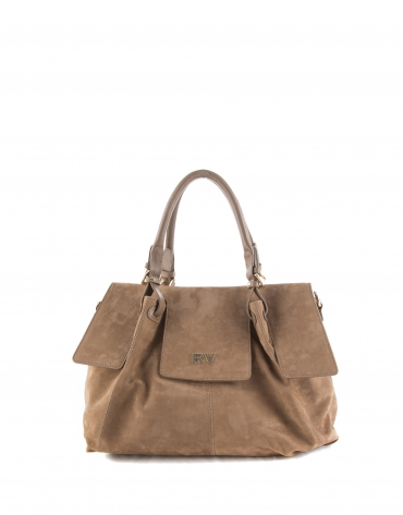Julia : sac satchel en nubuck, couleur camel