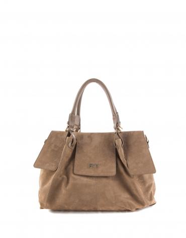 Julia : sac satchel en nubuck, couleur camel