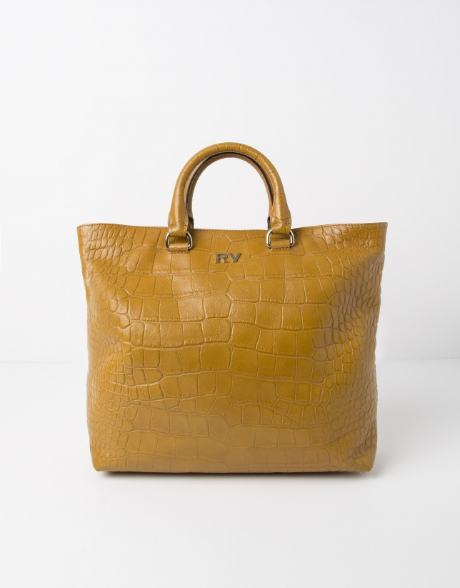 Mustard leather tote bag