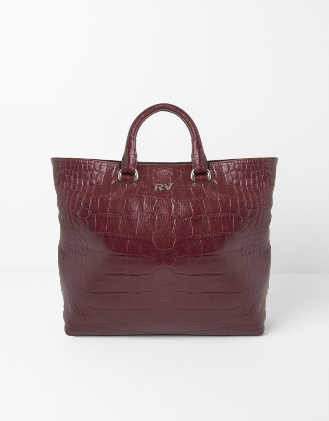 Scarlet leather tote bag