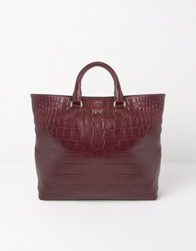 Scarlet leather tote bag
